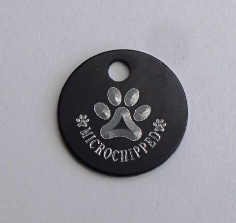 19MM CAT DOG PUPPY ID TAG MICROCHIPPED WITH 3D EFFECT PAW PRINTS PERSONALISED